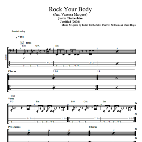 """Rock Your Body"""" by Justin Timberlake    Guitar + Bass + Piano ..."""
