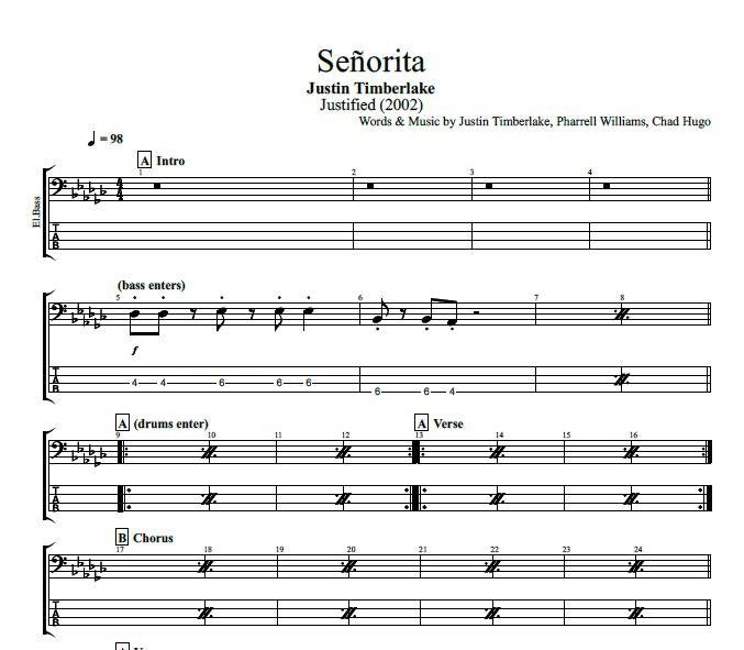 Senorita By Justin Timberlake Piano Bass Brass Sheet Music