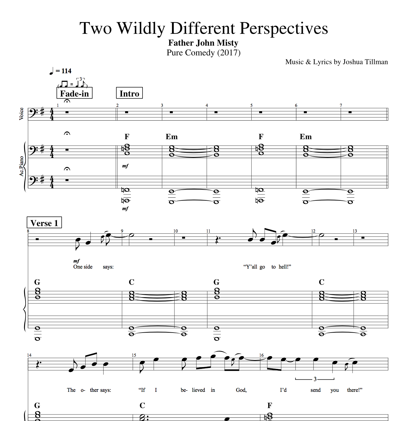 "Piano Sheet Music Curves On Top And Numbers: ""Two Wildly Different Perspectives"" By Father John Misty"