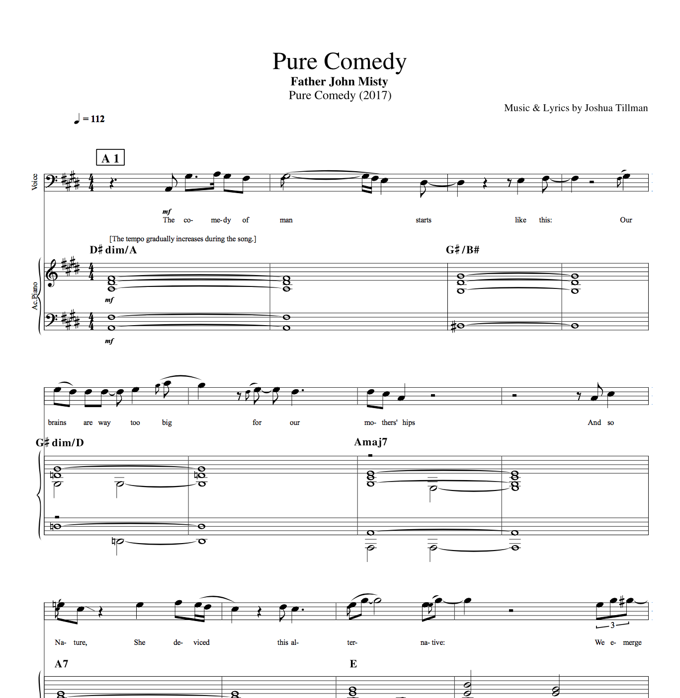 Pure comedy by father john misty piano voice bass sheet pure comedy by father john misty piano voice bass hexwebz Images