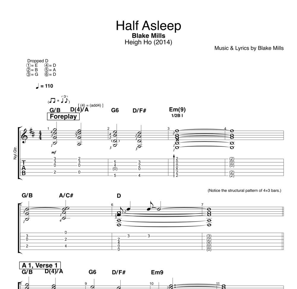 Half Asleep By Blake Mills Guitar Voice Tabs Chords