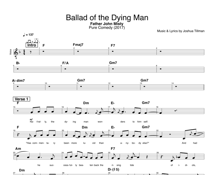 Ballad Of The Dying Man By Father John Misty Guitar Piano