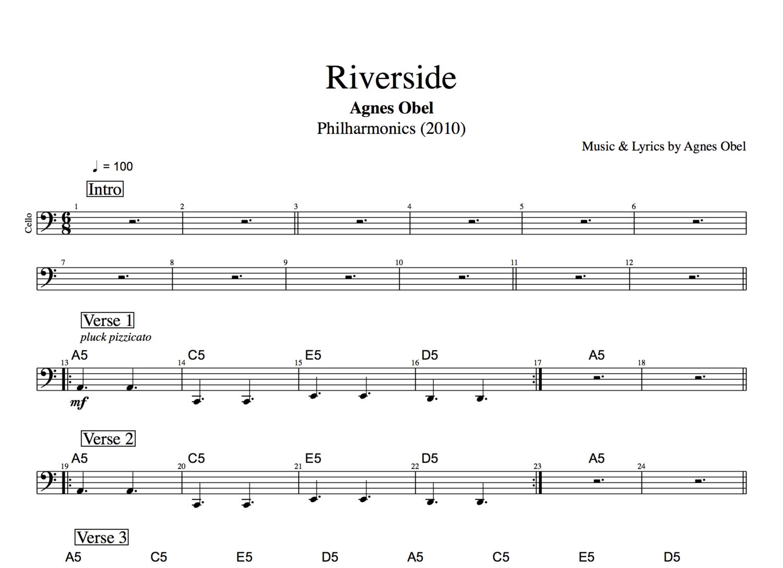Riverside By Agnes Obel Piano Cello Sheet Musicscore