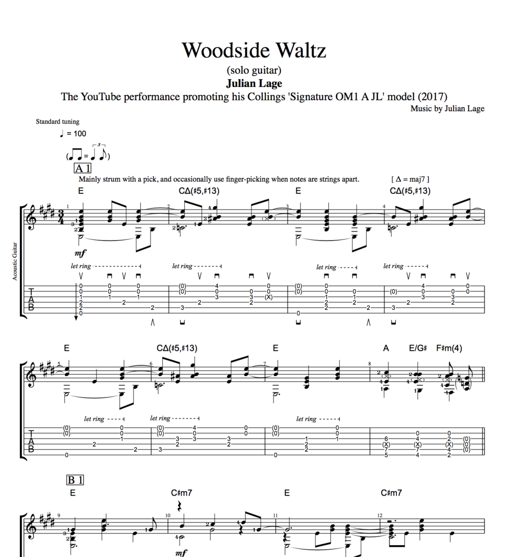 Woodside Waltz By Julian Lage Guitar Tab Chords Sheet Music