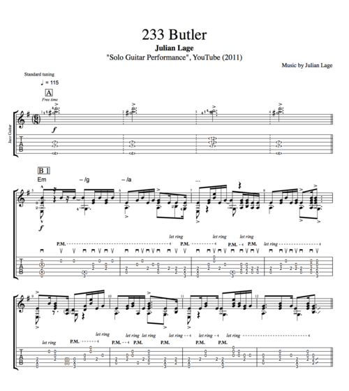 233 Butler Solo Guitar Performance By Julian Lage Guitar Tabs