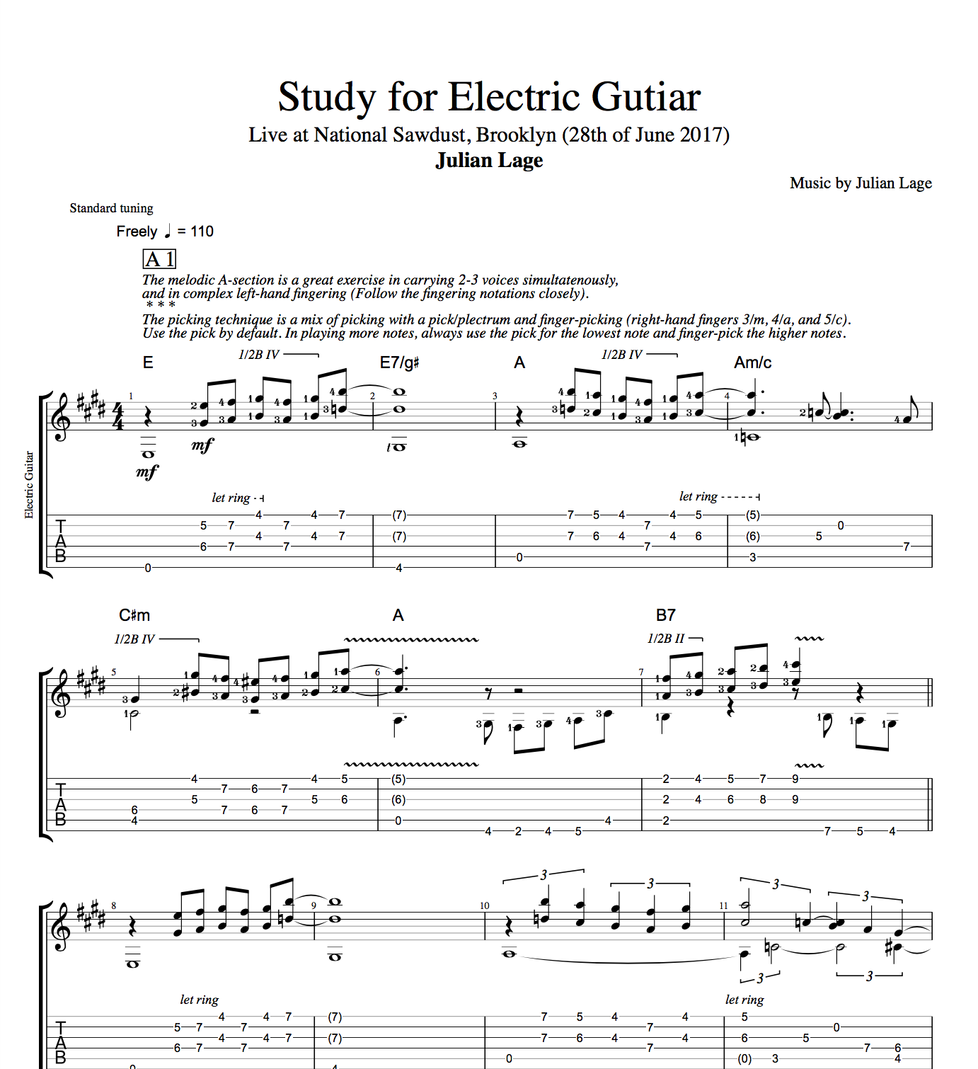 """Study For Electric Guitar"" By Julian Lage"