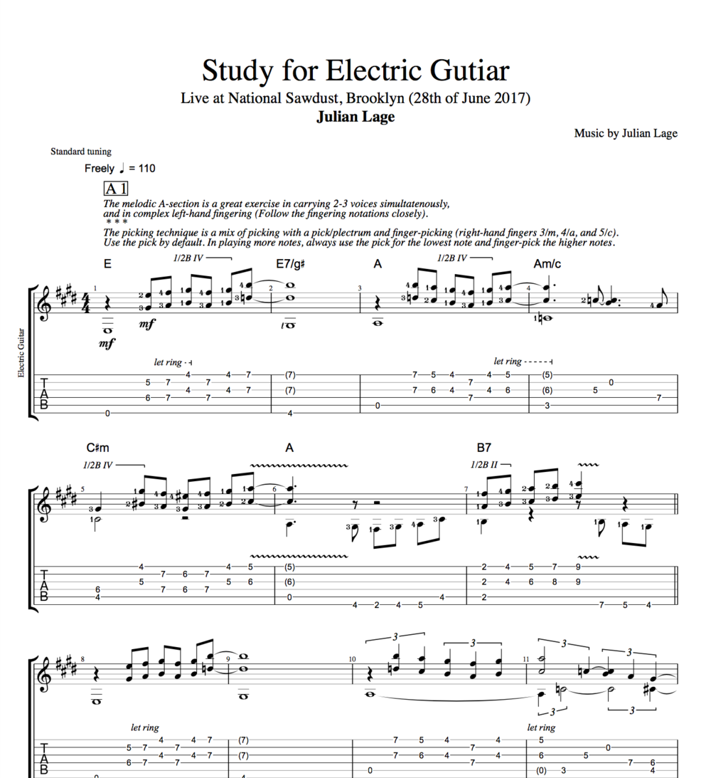 study for electric guitar by julian lage guitar tabs sheet music score chords play. Black Bedroom Furniture Sets. Home Design Ideas