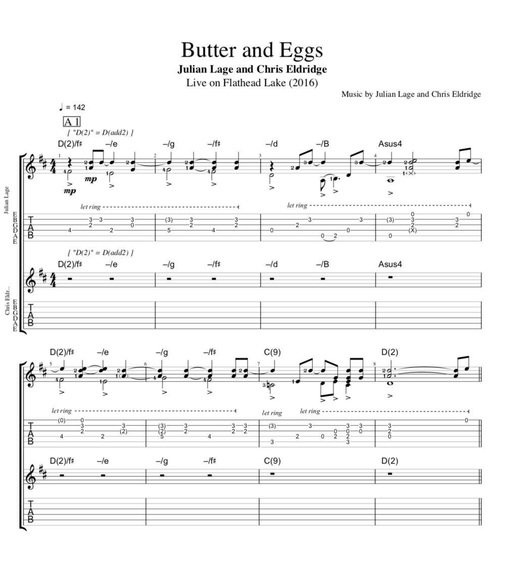 Butter And Eggs Live On Flathead Lake By Julian Lage And Chris