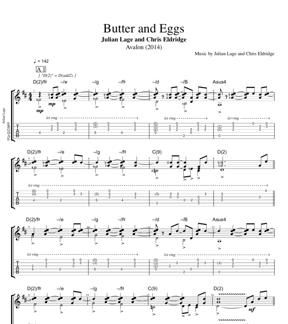 Butter And Eggs Avalon By Julian Lage And Chris Eldridge