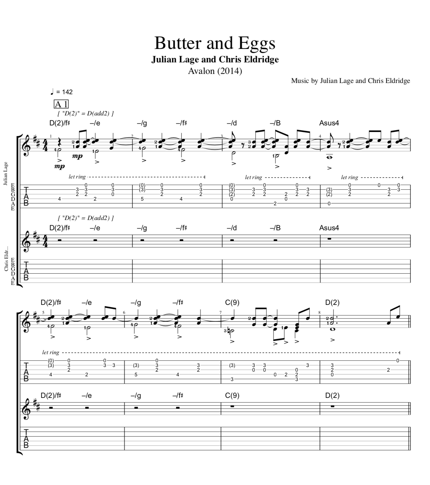Butter And Eggs Avalon By Julian Lage And Chris Eldridge Guitars Tabs Sheet Musicscore Chords Play Like The Greats Com