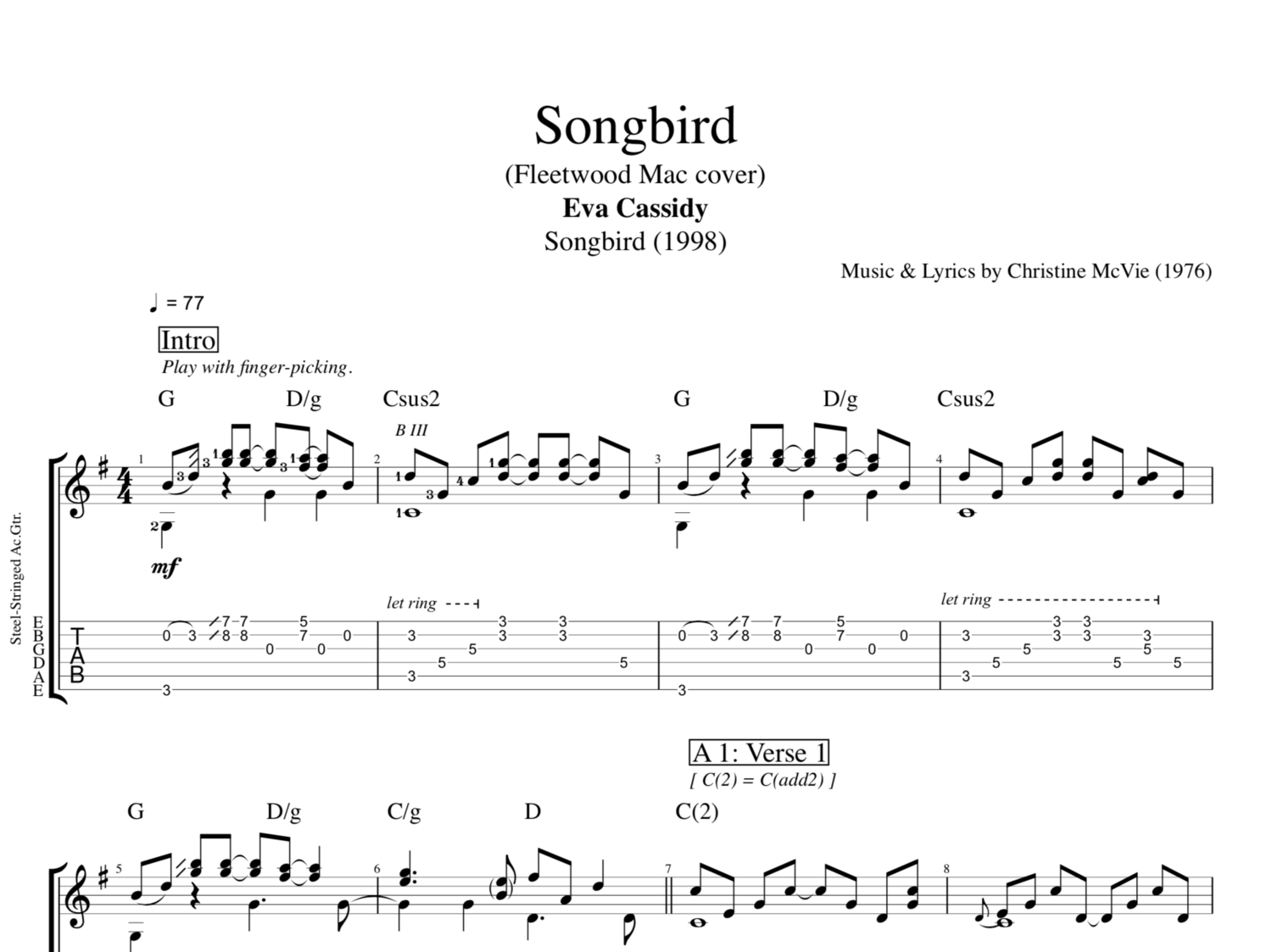 Songbird By Eva Cassidy Guitars Bass Vocals Tabs Chords