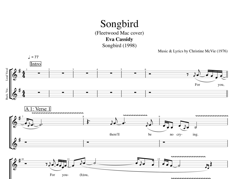 Songbird By Eva Cassidy Guitars Bass Vocals Tabs Chords