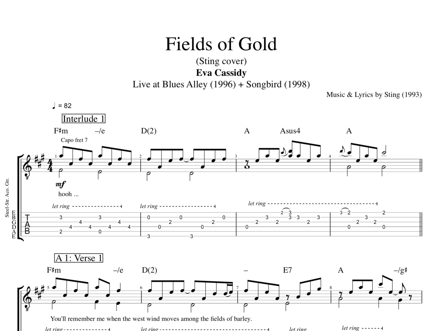 Fields Of Gold By Eva Cassidy Guitars Tabs Chords Sheet