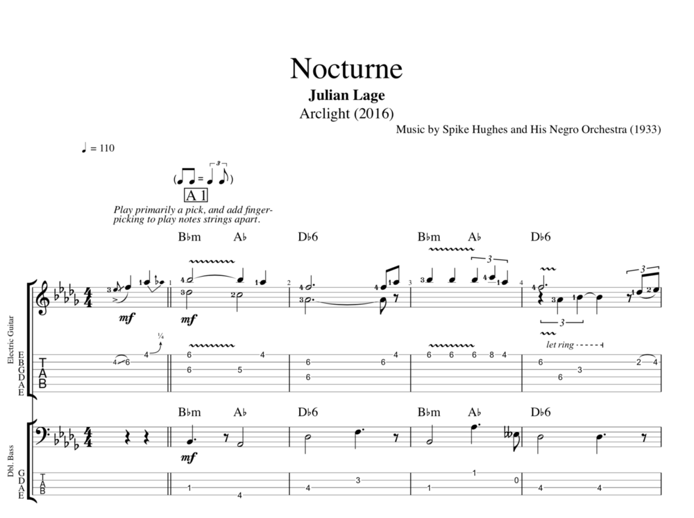 nocturne by julian lage guitar bass lead sheet tabs chords sheet music play like. Black Bedroom Furniture Sets. Home Design Ideas