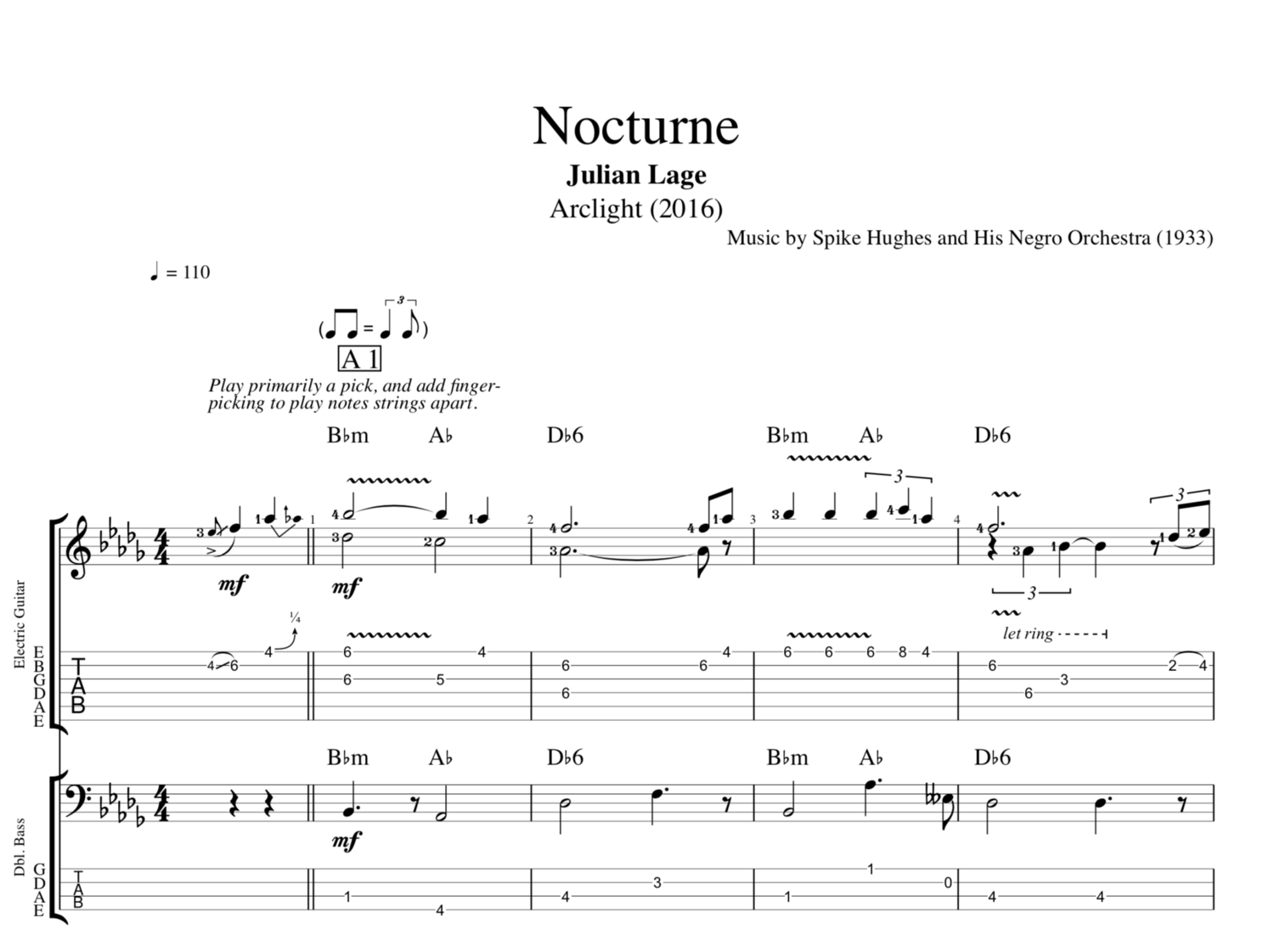 Nocturne Arclight By Julian Lage Guitar Bass Lead Sheet