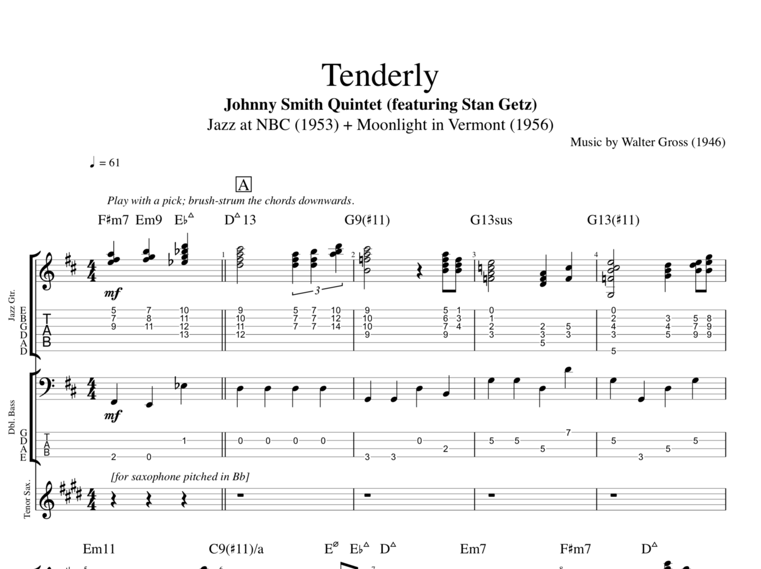 Tenderly By Johnny Smith Quintet Featuring Stan Getz Guitar