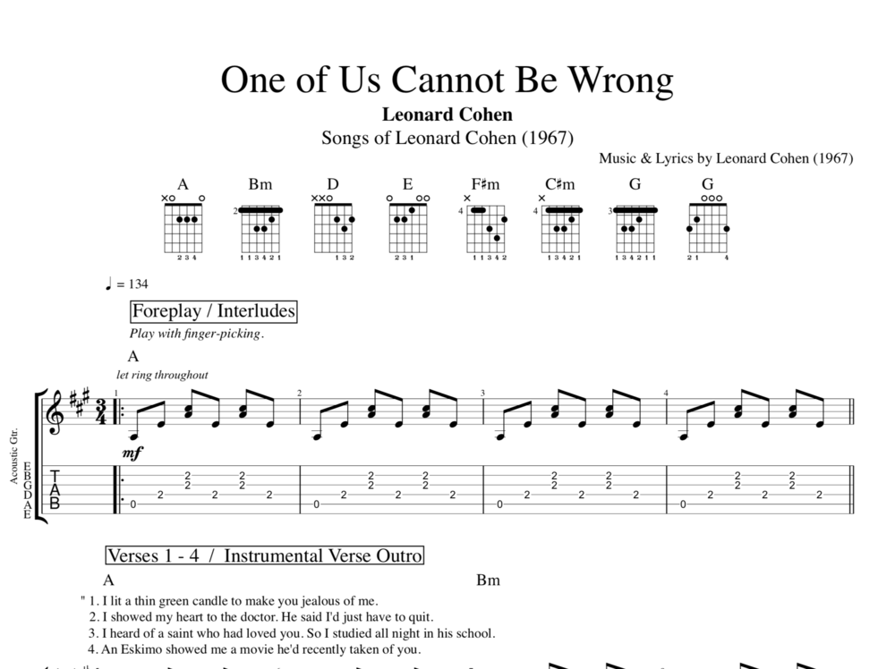 One Of Us Cannot Be Wrong By Leonard Cohen Guitar Tab Chords
