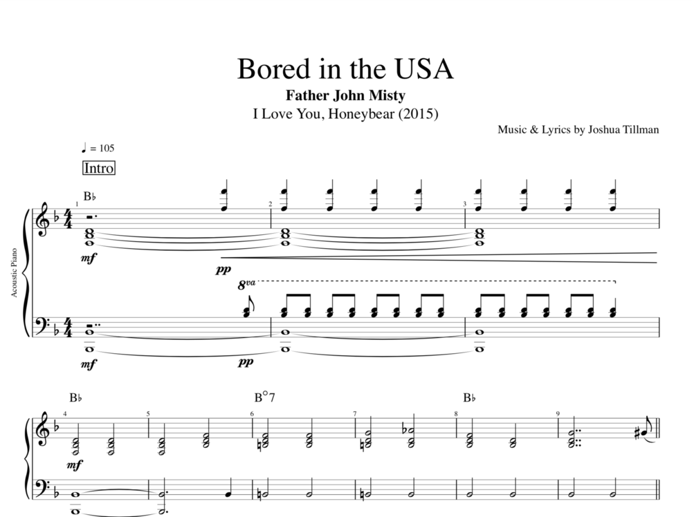 Bored In The Usa By Father John Misty Piano Sheet Music