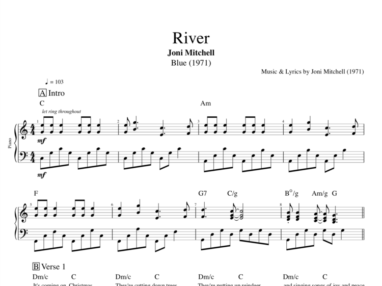 River By Joni Mitchell Piano Sheet Music Chords Lyrics
