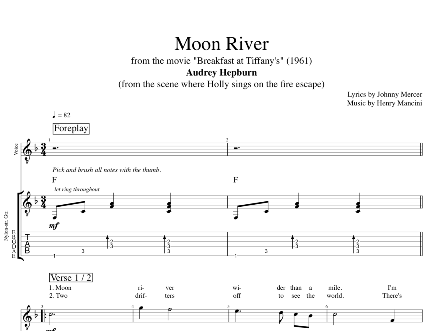 Moon River Mancinimercer By Audrey Hepburn Guitar Voice