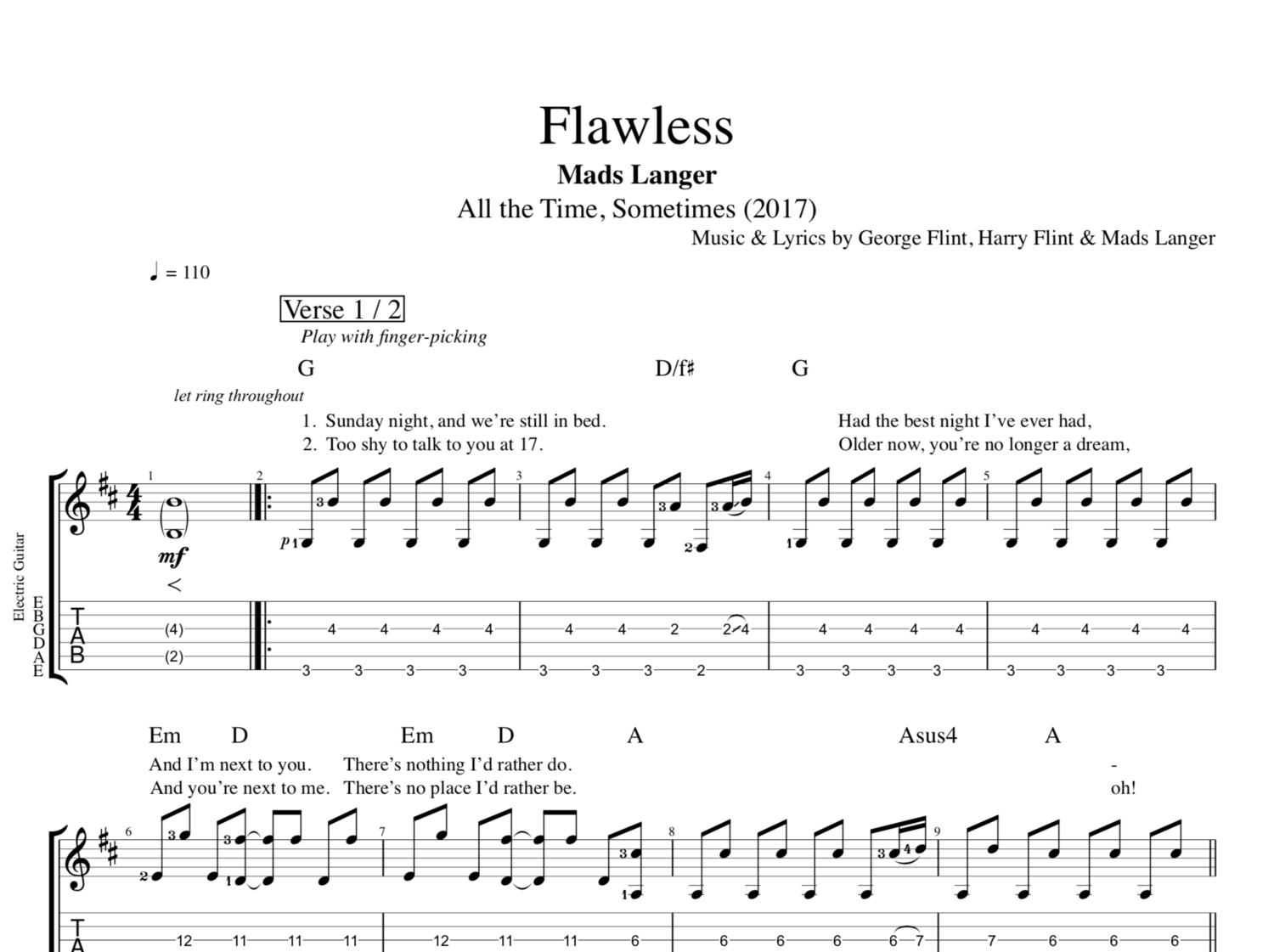 Flawless By Mads Langer Guitar Tabs Chords Sheet Music