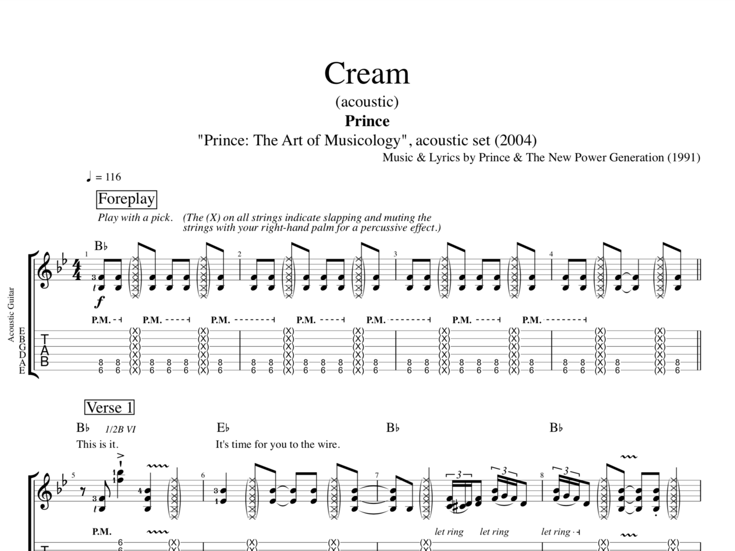Cream Acoustic By Prince Guitar Tab Chords Sheet Music