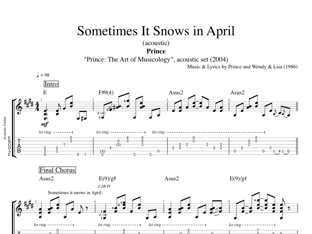 Sometimes It Snows In April Acoustic By Prince Guitar Tab