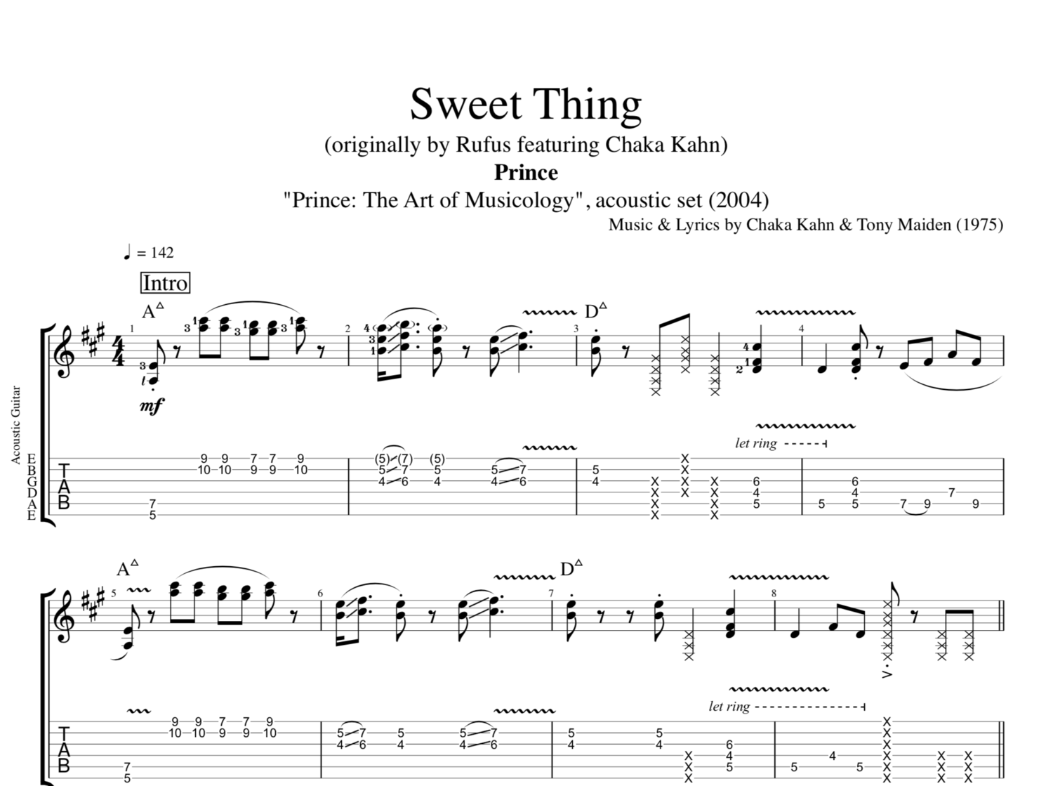 Sweet Thing Acoustic By Prince Guitar Tab Chords Sheet