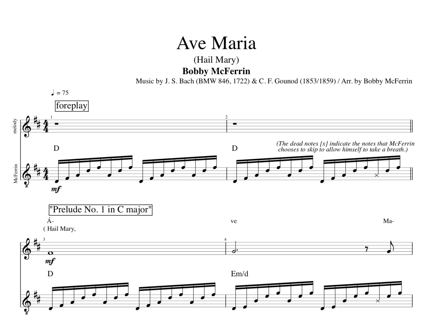Ave Maria By Bobby Mcferrin Vocal Sheet Musicscore Chords