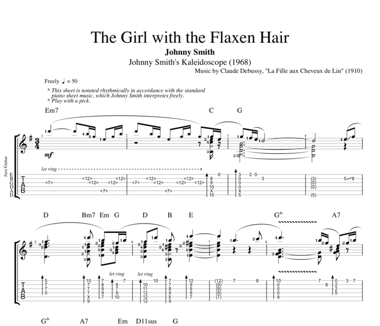 Piano piano tab sheet music : The Girl with the Flaxen Hair