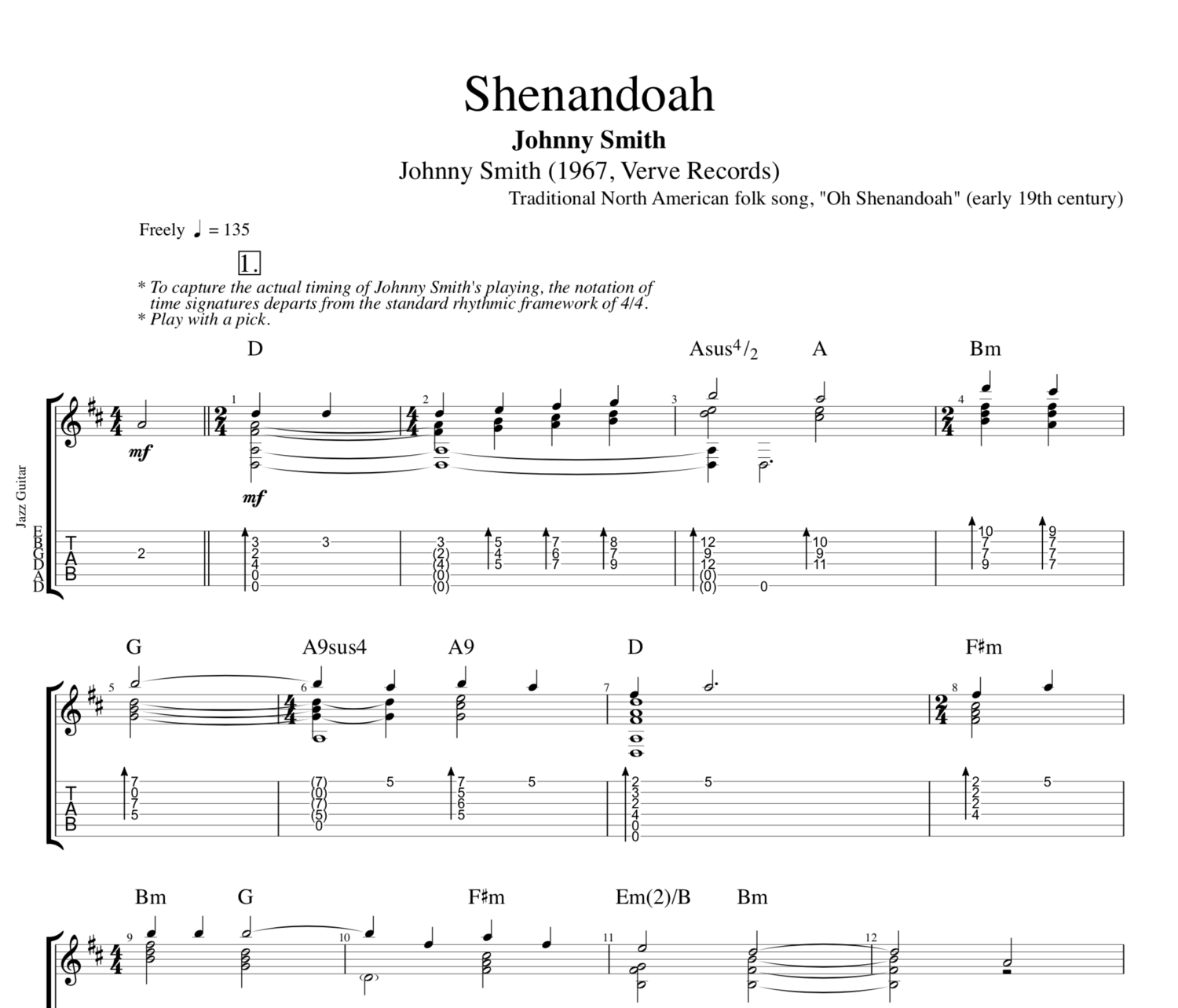 Shenandoah By Johnny Smith Guitar Tab Sheet Musicscore