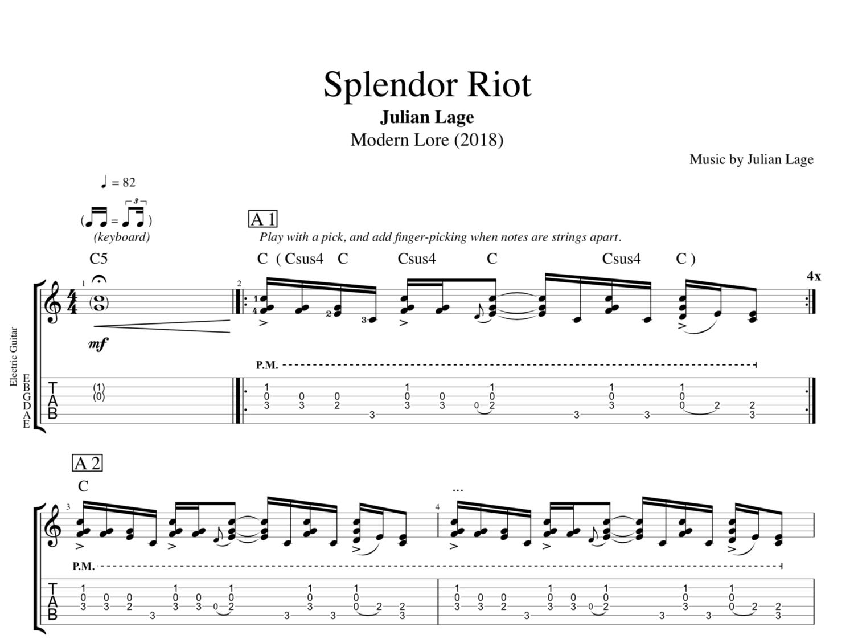 Splendor Riot Modern Lore By Julian Lage Guitar Bass Tabs