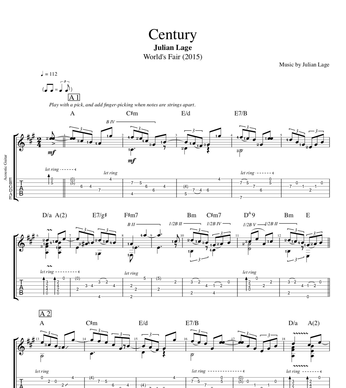 Century By Julian Lage Guitar Tab Sheet Music Chords Play