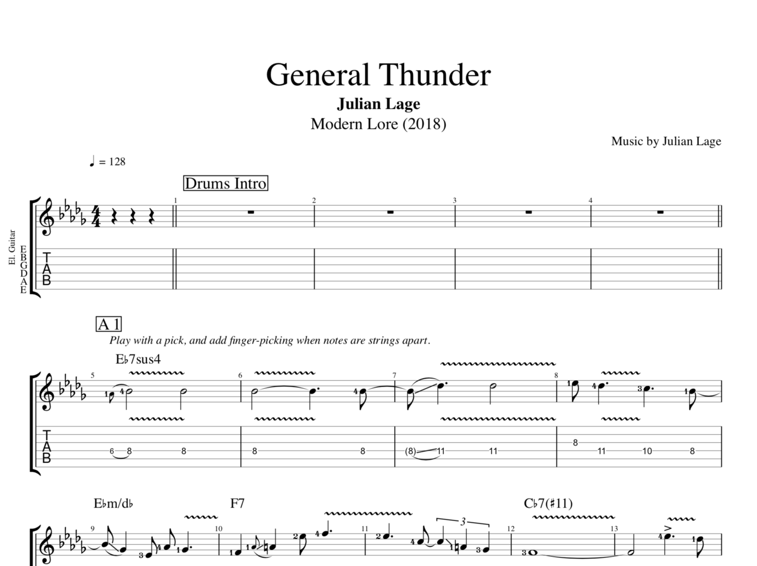 General Thunder By Julian Lage Guitar Bass Tabs Sheet Music