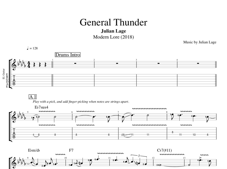 General Thunder By Julian Lage Guitar Bass Tabs Sheet Music