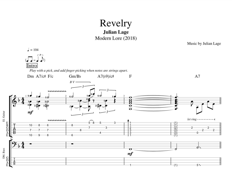 Revelry By Julian Lage Guitar Bass Tabs Sheet Musicscore