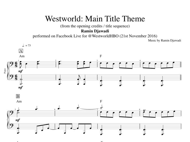 Westworld Main Title Theme Played By Ramin Djawadi Piano Sheet