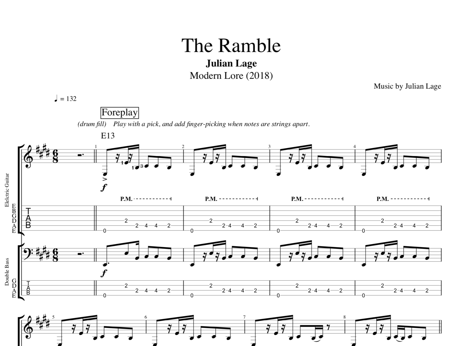 The Ramble By Julian Lage Guitar Bass Tabs Sheet Music