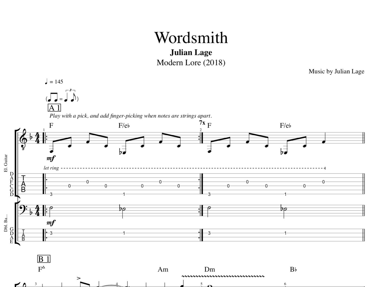 Wordsmith By Julian Lage Guitar Bass Tabs Sheet Musicscore