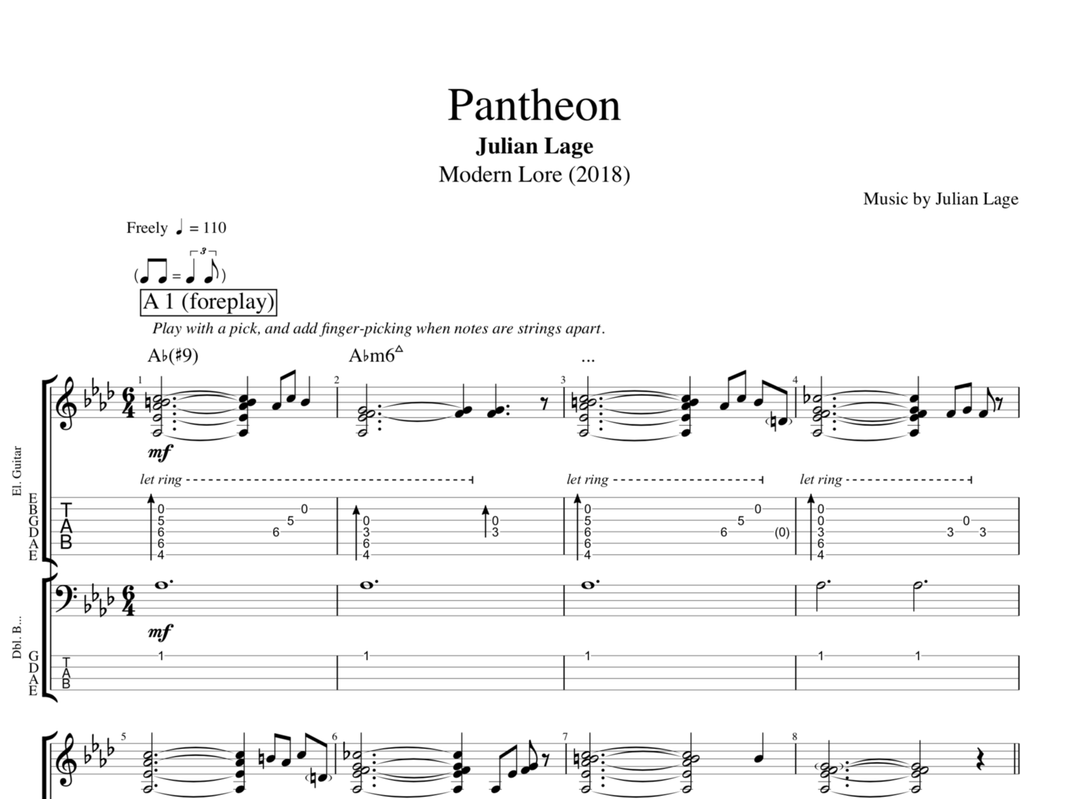 Pantheon By Julian Lage Guitar Bass Tabs Sheet Musicscore