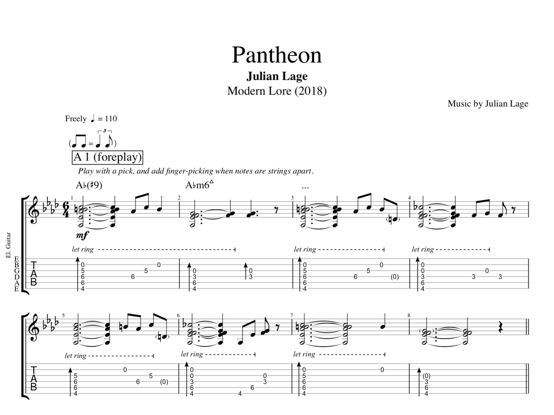 Pantheon By Julian Lage Guitar Bass Tabs Sheet Musicscore