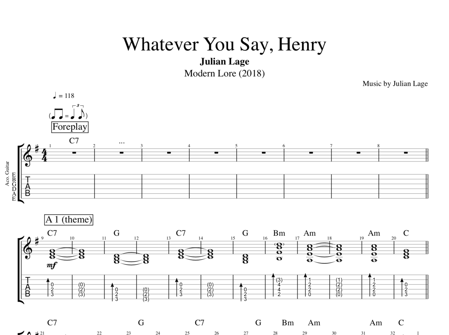 Whatever You Say Henry By Julian Lage Guitar Bass Tabs
