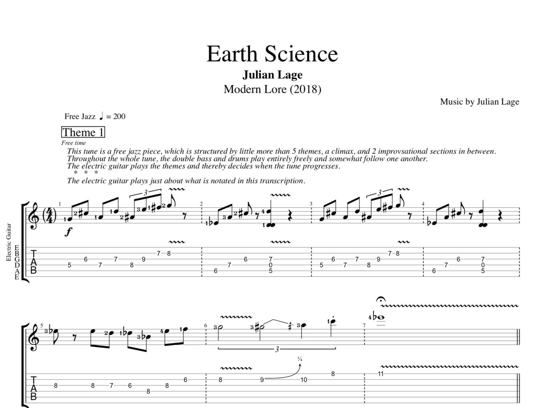 Earth Science By Julian Lage Guitar Tabs Sheet Musicscore