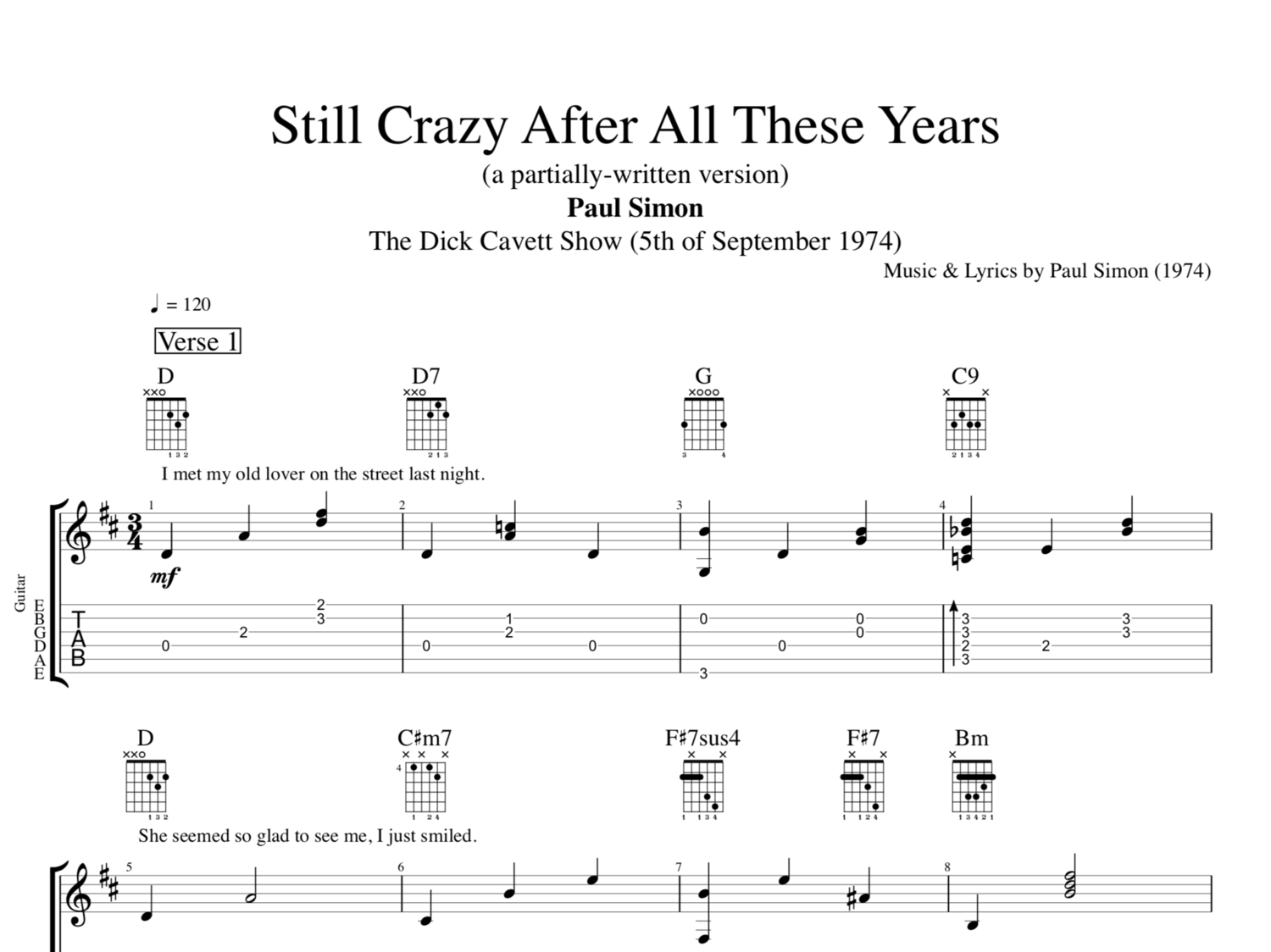 Still Crazy After All These Years Partially Written By Paul Simon