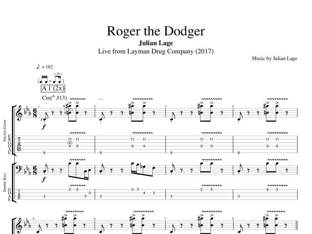 All Music Chords bass sheet music : Roger the Dodger