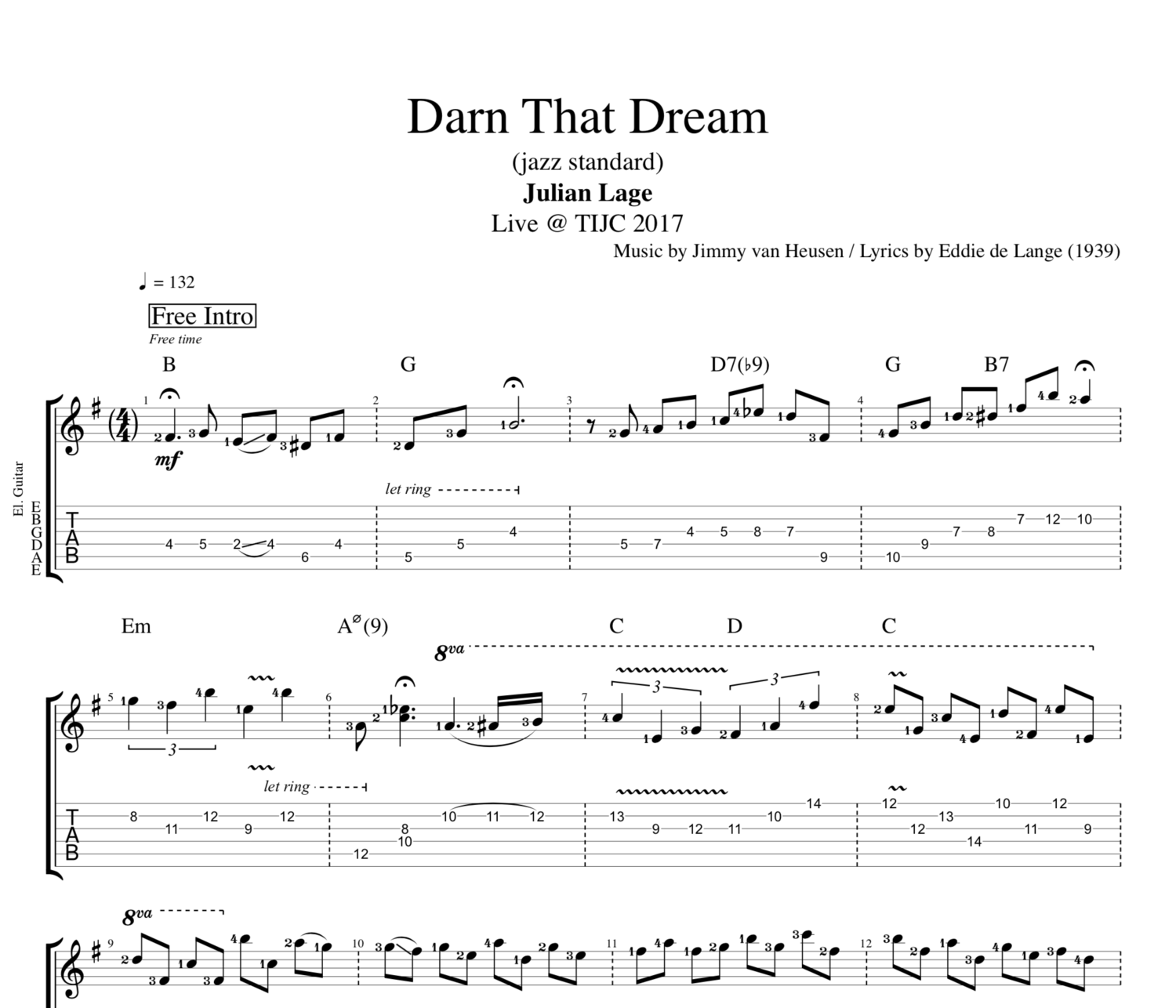 Darn That Dream Tijc 2017 By Julian Lage Guitar Tab Sheet