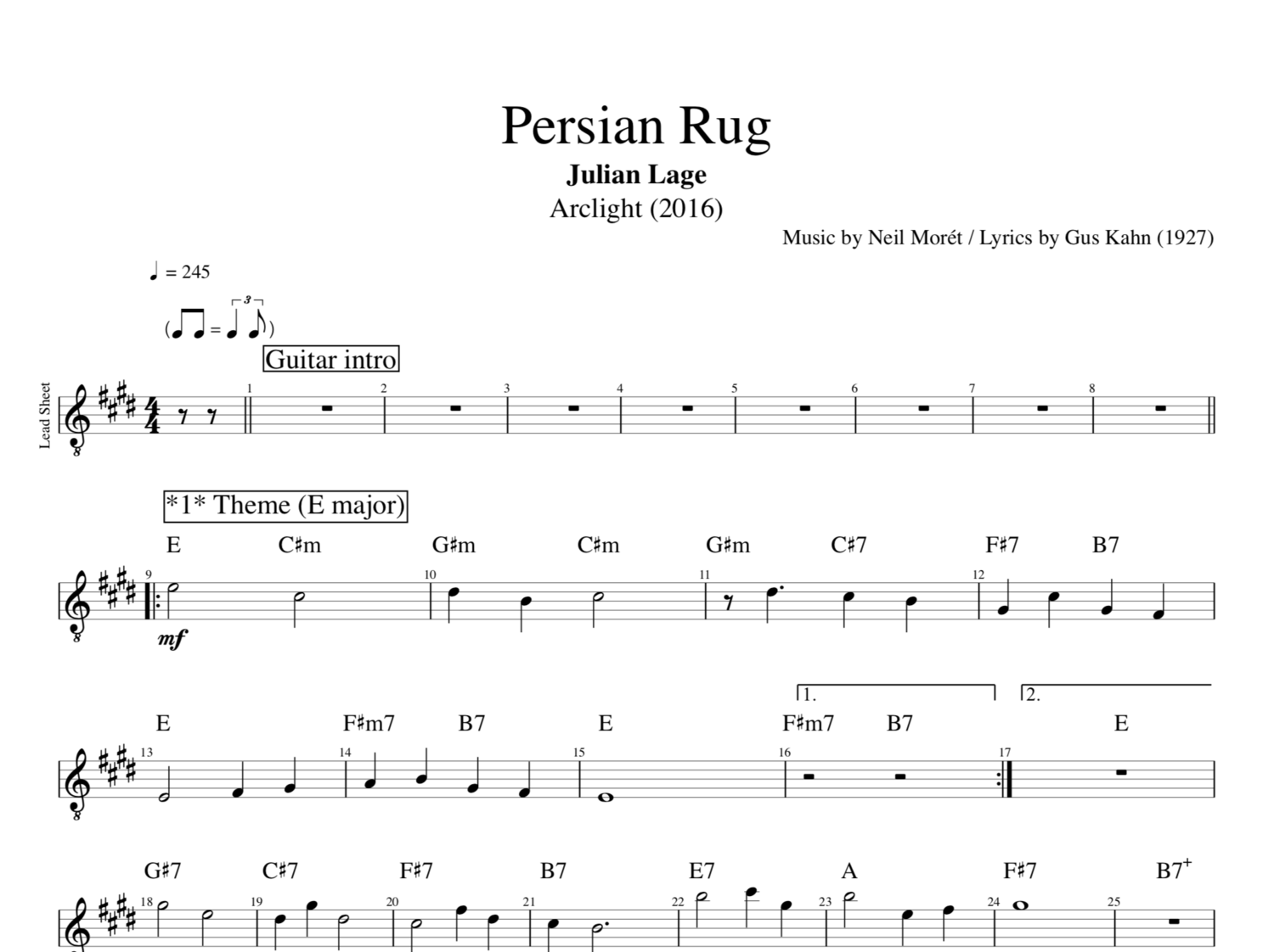 Persian Rug Arclight By Julian Lage Guitar Bass Tabs