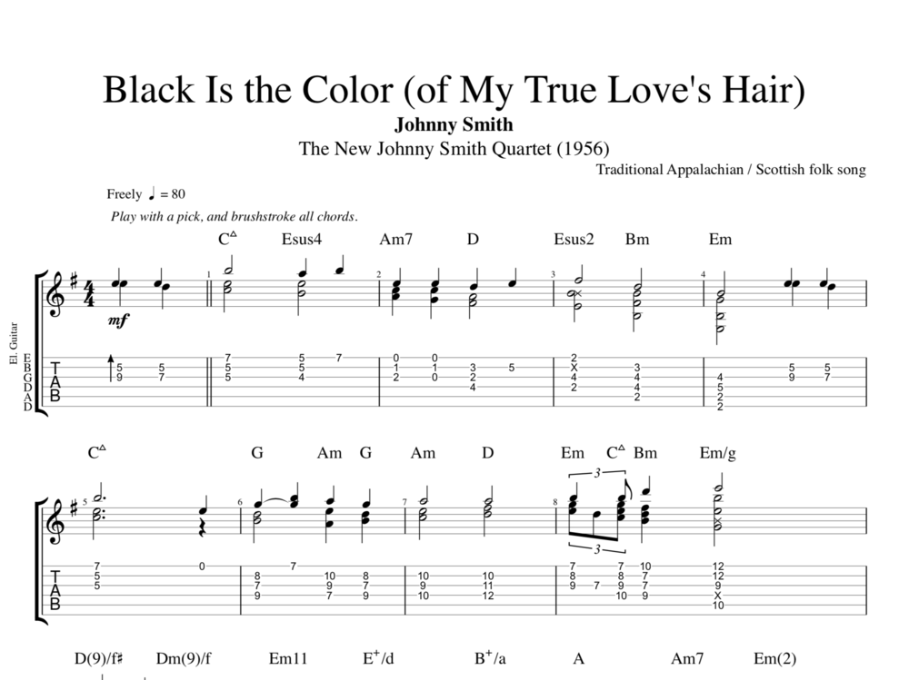 black is the color of my true love 39 s hair by johnny smith guitar tab sheet music score. Black Bedroom Furniture Sets. Home Design Ideas