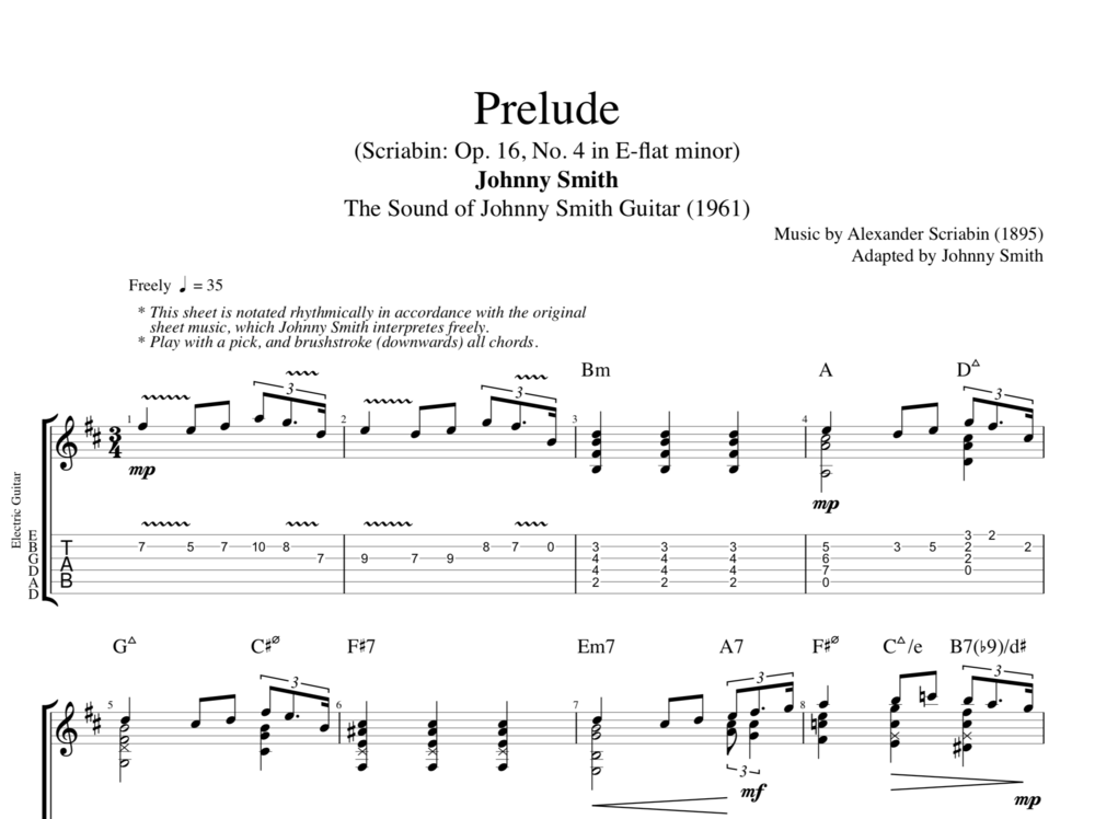 Prelude By Johnny Smith Guitar Tab Sheet Musicscore Chords