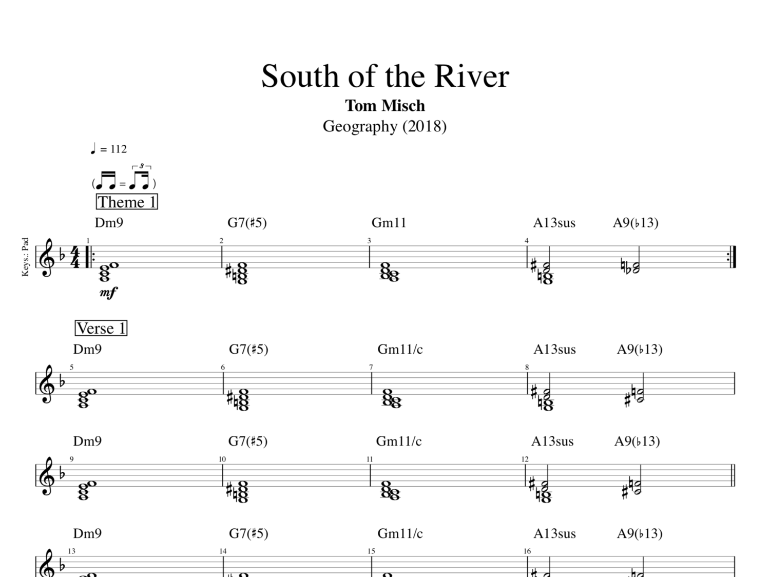 South Of The River By Tom Misch Bass Keyboards Guitar Sheet